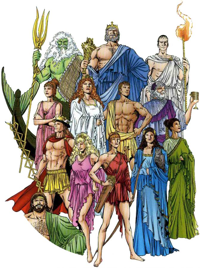 This picture shows the main Greek Gods and Goddesses. This was drawn by DC Comics.